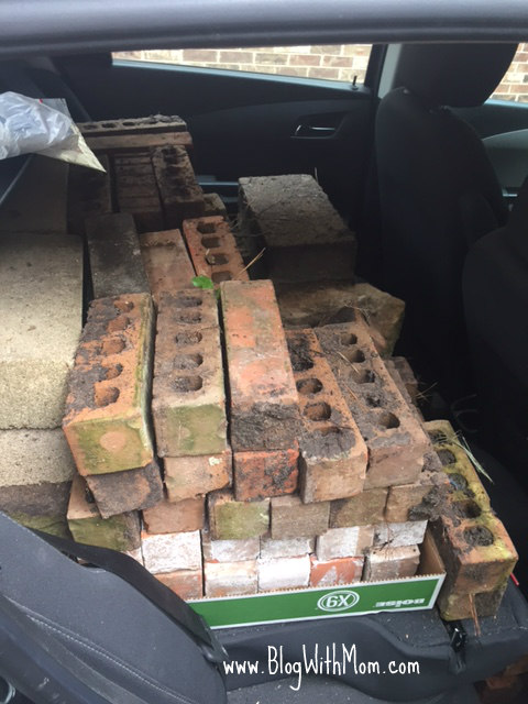 bricks in car